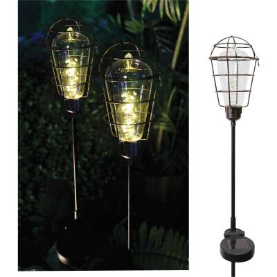 Solaris Metal Cage Edison Style 35 In. H. Solar Stake Light