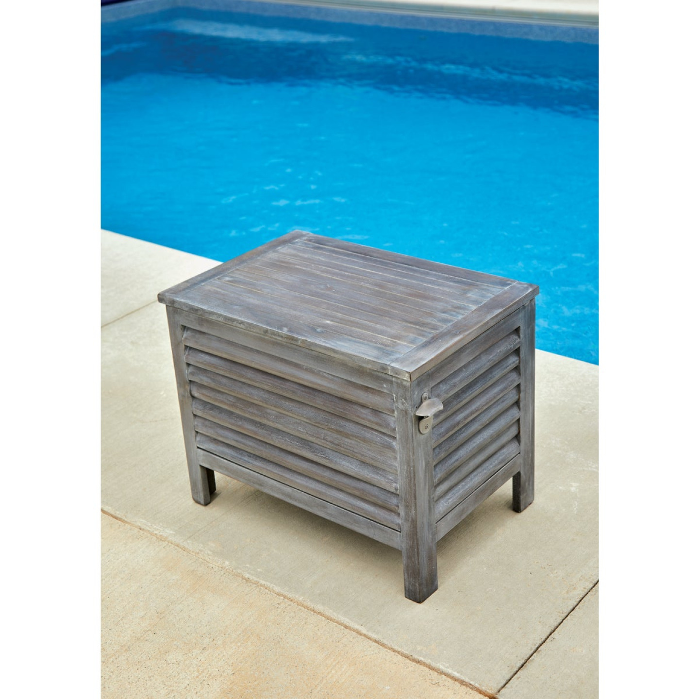 Leigh Country 56 Qt. Acacia Wood Cooler, Gray Image 4