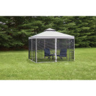 Outdoor Expressions 10 Ft. x 10 Ft. Gray & Black Steel Gazebo with Sides Image 2