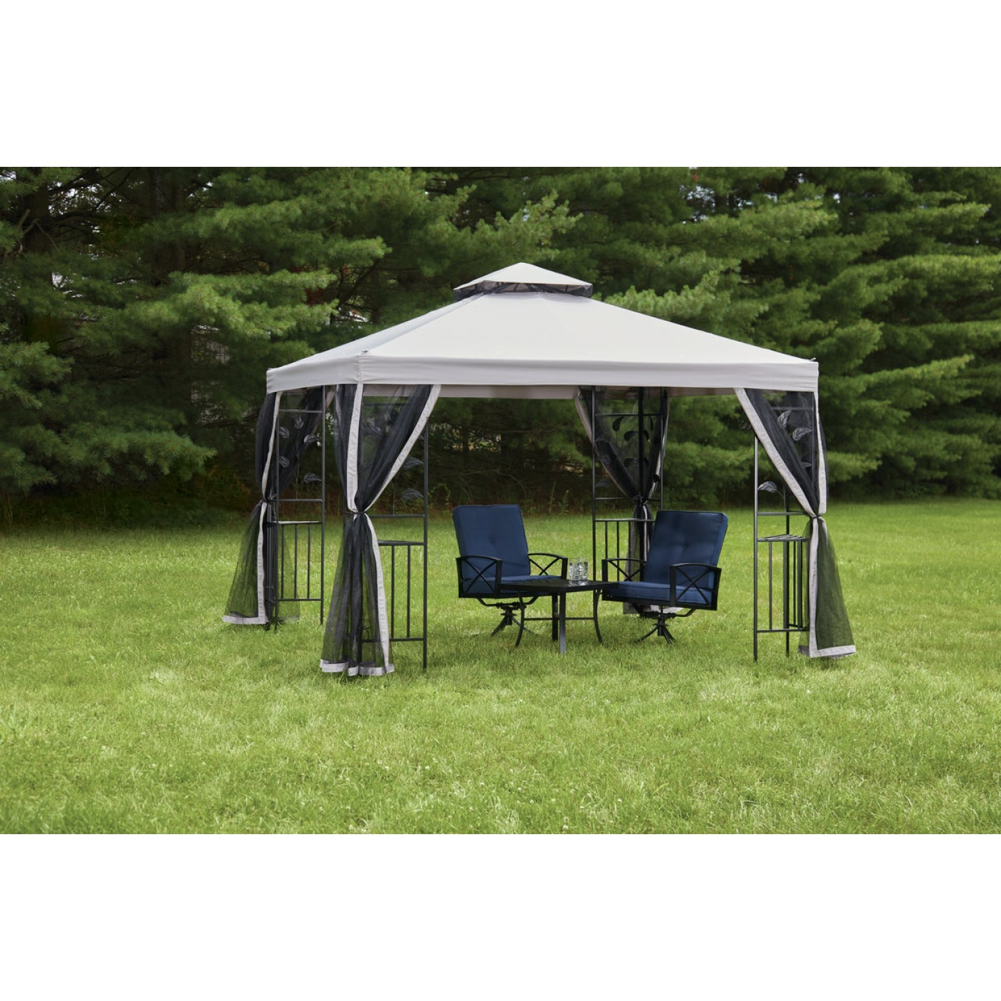 Outdoor Expressions 10 Ft. x 10 Ft. Gray & Black Steel Gazebo with Sides Image 3