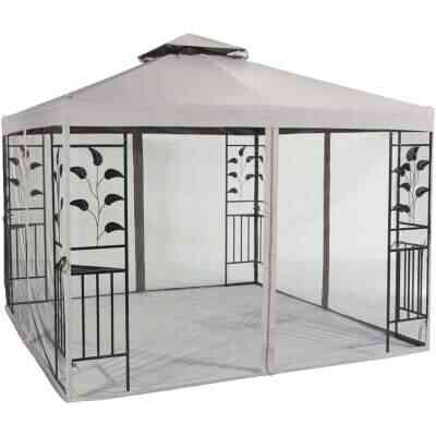 Outdoor Expressions 10 Ft. x 10 Ft. Gray & Black Steel Gazebo with Sides