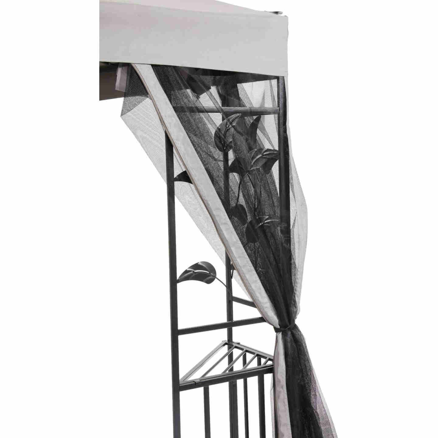 Outdoor Expressions 12 Ft. x 12 Ft. Gray & Black Steel Gazebo with Sides Image 11