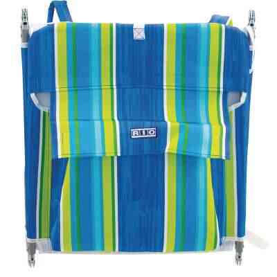 Rio Brands Beach Multiple-Position Blue & Green Striped Steel Folding Backpack Lounger