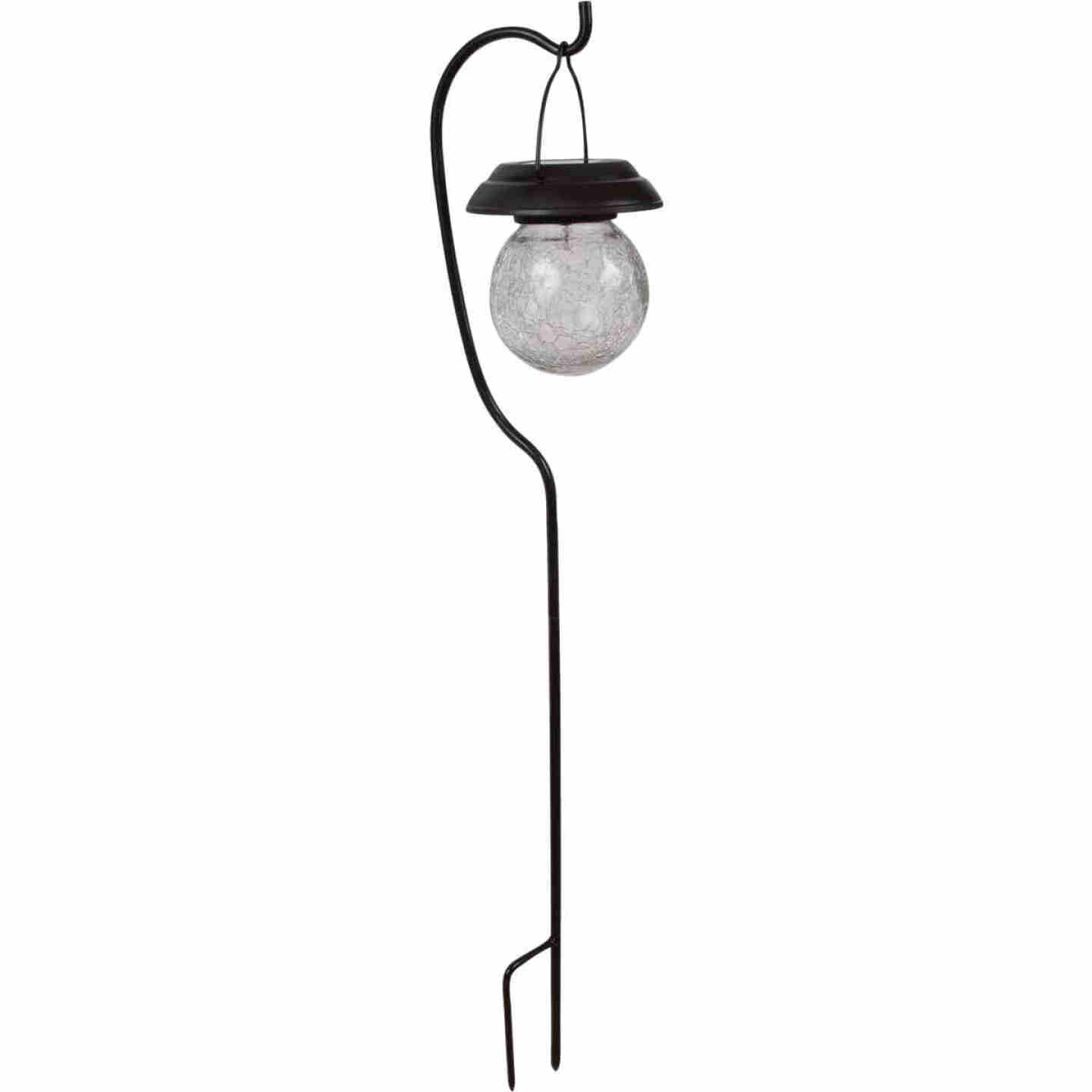 Fusion Black Stainless Steel Shepherd's Hook Hanging Crackle Ball Solar Path Light Image 1