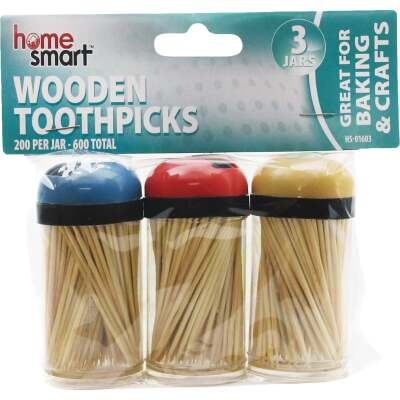 Home Smart 200 Per Jar Wooden Toothpicks (3-Pack)